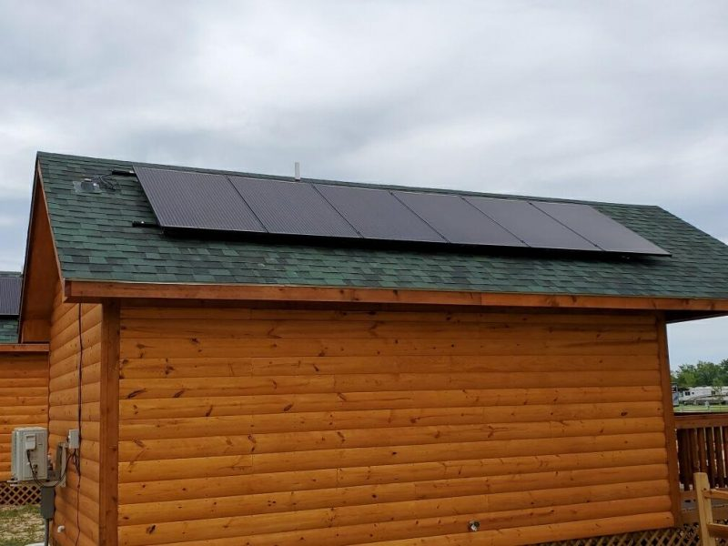 Solar panels on cabins at Silver Spur Resort