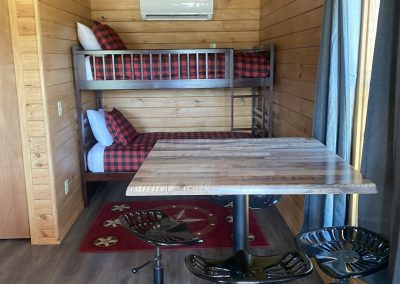 inside camping cabin