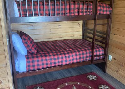 bunk beds inside camping cabins at silver spur resort