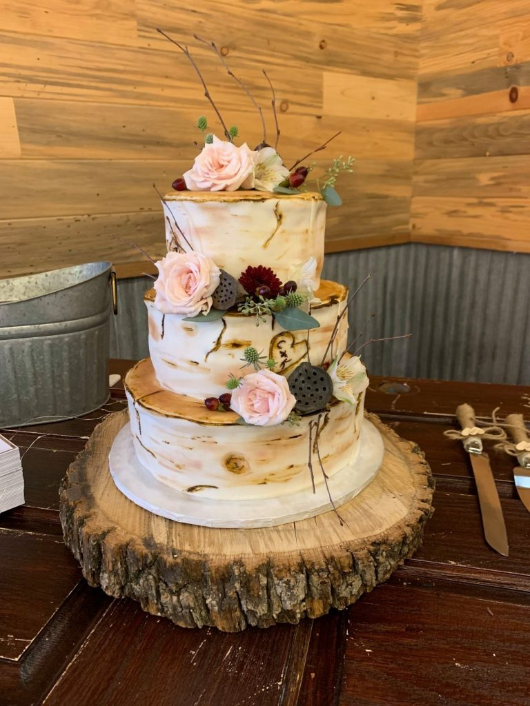 3-tiered wedding cake by The Confection Connection