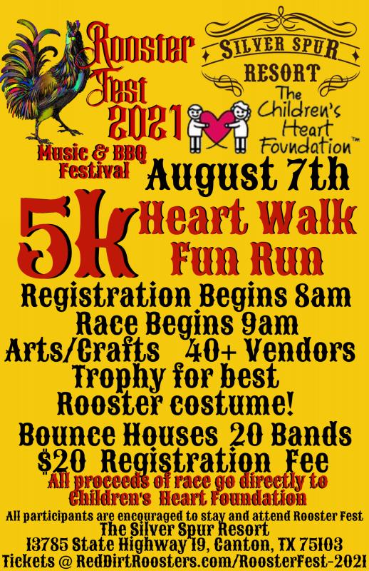 5k Heart Walk Fun Run at Rooster Fest 2021